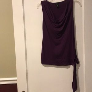 Ann Taylor XS Purple Cowl neck tank with tie